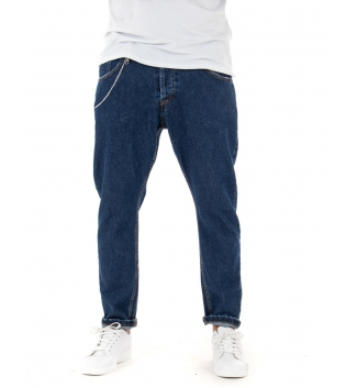 Jeans Uomo Lungo Pantalone Denim Cinque Tasche MOD Catena GIOSAL