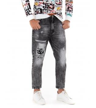 Jeans Uomo Pantalone Lungo Grigio Rotture Sfumato Cinque Tasche GIOSAL