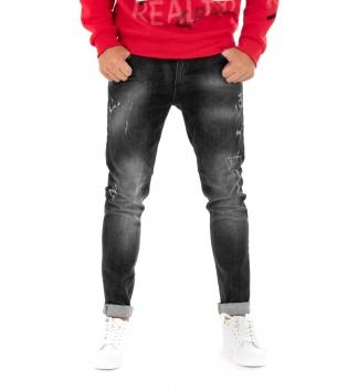 Pantalone Uomo Jeans Lungo Nero Sfumato Slim Akirò Cinque Tasche GIOSAL