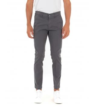 Pantalone Uomo Lungo Tinta Unita Grigio Slim Tasca America Casual GIOSAL