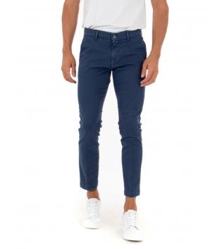 Pantalone Uomo Lungo Tinta Unita Blu Royal Slim Tasca America Casual GIOSAL