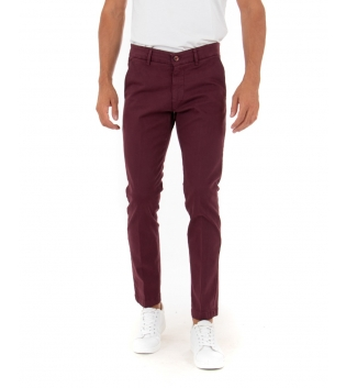 Pantalone Uomo Lungo Tinta Unita Bordeaux Slim Tasca America Casual GIOSAL