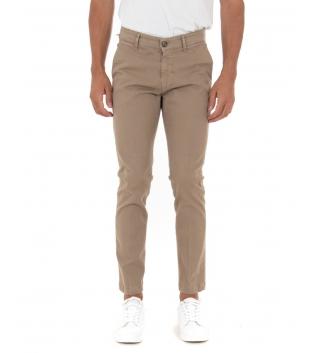 Pantalone Uomo Lungo Tinta Unita Biege Slim Tasca America Casual GIOSAL