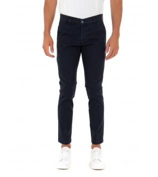 Pantalone Uomo Lungo Tinta Unita Blu Slim Tasca America Casual GIOSAL