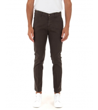 Pantalone Uomo Lungo Tinta Unita Marrone Slim Tasca America Casual GIOSAL