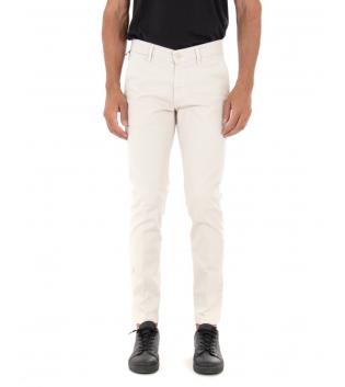 Pantalone Uomo Lungo Tinta Unita Panna Slim Tasca America Casual GIOSAL