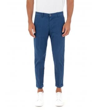 Pantalone Uomo Lungo Akirò Slim Tinta Unita Blu Royal Tasca America Casual GIOSAL