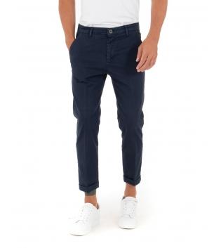 Pantalone Uomo Lungo Akirò Slim Tinta Unita Blu Tasca America Casual GIOSAL