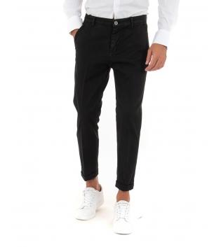 Pantalone Uomo Lungo Akirò Slim Tinta Unita Nero Tasca America Casual GIOSAL