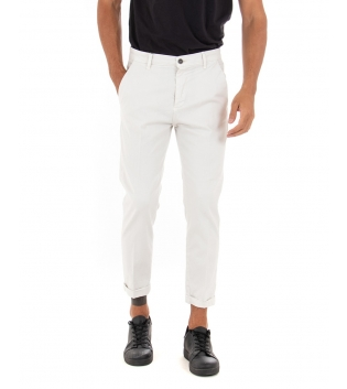 Pantalone Uomo Lungo Akirò Slim Tinta Unita Bianco Tasca America Casual GIOSAL