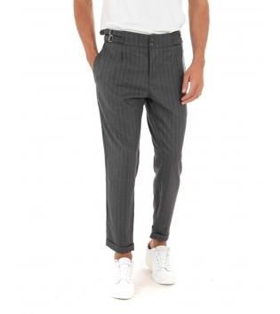 Pantalone Uomo Lungo Rigato Fibbia Grigio Casual Tasca America GIOSAL