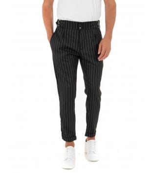 Pantalone Uomo Lungo Rigato Fibbia Nero Casual Tasca America GIOSAL