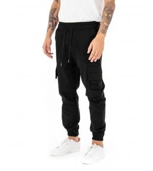 Pantalone Uomo Lungo Cargo Tinta Unita Nero Elastico Coulisse GIOSAL