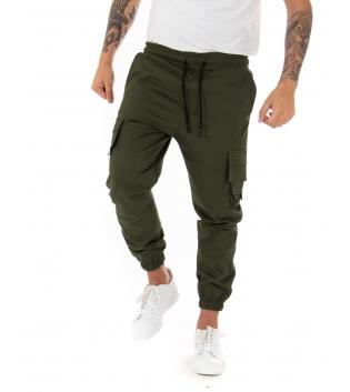 Pantalone Uomo Lungo Cargo Tinta Unita Verde Elastico Coulisse GIOSAL