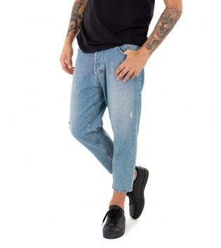 Jeans Uomo Pantalone Lungo Sabbiato Cinque Tasche Rotture Casual GIOSAL