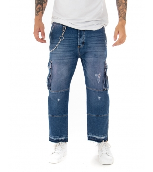 Jeans Uomo Lungo Cargo Casual Straight Fit Denim Rotture Casual GIOSAL