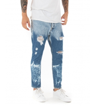 Jeans Uomo Lungo Stone Washed Rotture Cinque Tasche Casual GIOSAL