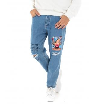 Jeans Uomo Lungo Pantalone Stampa Rotture Scritte Cinque Tasche GIOSAL