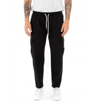 Pantalone Uomo Lungo Cargo Tinta Unita Nero Tasche Casual Elastico GIOSAL