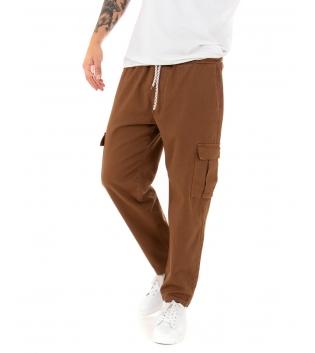 Pantalone Uomo Lungo Cargo Tinta Unita Tabacco Tasche Casual Elastico GIOSAL