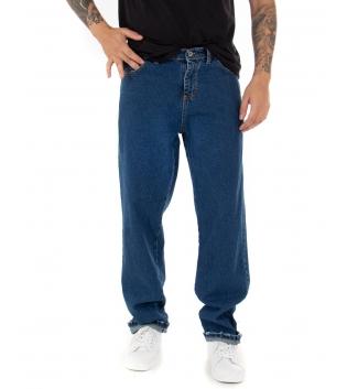 Pantalone Jeans Uomo Lungo Denim Blu Cinque Tasche Straight Fit Casual GIOSAL