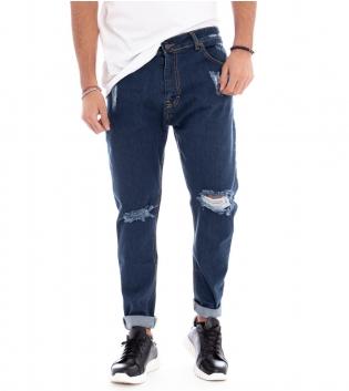 Pantalone Uomo Denim Jeans Rotture Cinque Tasche Cavallo Basso GIOSAL