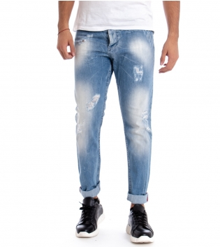 Jeans Denim Uomo Pantalone Rotture Cinque Tasche Regolare Casual GIOSAL