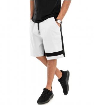 Pantalone Corto Uomo Bermuda Pantaloncini Tuta Bicolore Bianco Nero Elastico GIOSAL