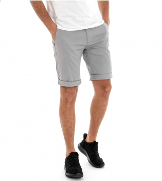 Pantalone Corto Uomo Bermuda Chino Pantaloncini Tasca America Grigio GIOSAL