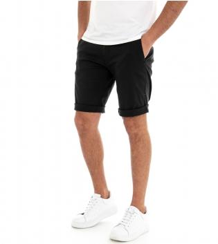 Pantalone Corto Uomo Bermuda Chino Pantaloncini Tasca America Nero GIOSAL