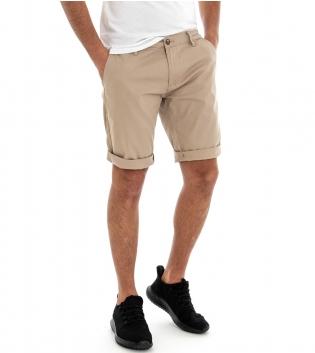 Pantalone Corto Uomo Bermuda Chino Pantaloncini Tasca America Beige GIOSAL
