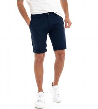 Pantalone Corto Uomo Bermuda Chino Pantaloncini Tasca America Blu GIOSAL