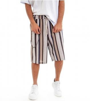 Pantalone Corto Uomo Bermuda Lino Pantaloncini Rigato Righe Multicolore GIOSAL-Marrone-S