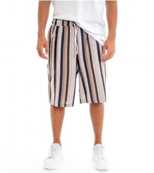 Pantalone Corto Uomo Bermuda Lino Pantaloncini Rigato Righe Multicolore GIOSAL