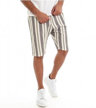 Pantaloncini Corti Bermuda Rigati Pantalone Corto Righe Verde GIOSAL