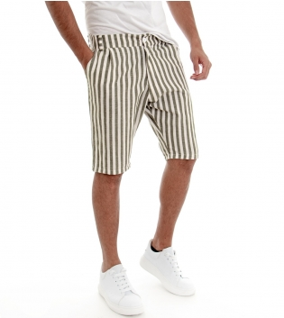 Bermuda Pantaloncini Corti Uomo Rigati Verde Righe Tasca America Casual GIOSAL