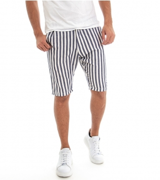 Bermuda Pantaloncini Corti Uomo Rigati Blu Righe Tasca America Casual GIOSAL