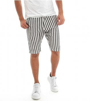 Bermuda Uomo Rigato Pantaloncini Corti Pantaloni Righe Multicolore GIOSAL