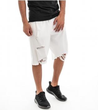 Pantaloncini Pantaloni Corti Bermuda Uomo Rotture Bianco Tinta Unita Elastico GIOSAL