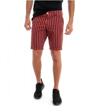 Pantaloncini Uomo Bermuda Pantalone Corto Akirò Rosso e Blu GIOSAL