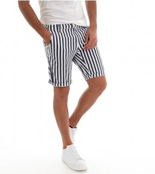 Pantaloncini Uomo Bermuda Pantalone Corto Akirò Blu e Bianco GIOSAL