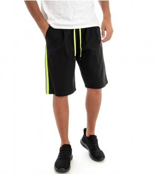 Pantalone Corto Uomo Pantaloncini Bermuda Tuta Elastico Riga Fluo Laterale GIOSAL