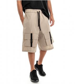 Pantalone Corto Uomo Bermuda Beige Panta Tuta con Elastico Cavallo Basso GIOSAL