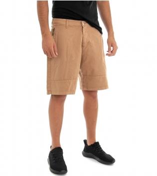 Pantaloncini Uomo Bermuda Pantalone Corto Camel Tinta Unita Cotone GIOSAL