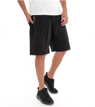Pantaloncini Uomo Bermuda Pantalone Corto Nero Tinta Unita Cotone GIOSAL
