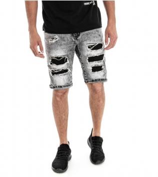 Bermuda Uomo Pantalone Corto Jeans Denim Grigio Cinque Tasche GIOSAL