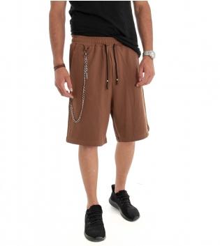 Bermuda Uomo Pantalone Corto Over Tinta Unita Tabacco Cotone GIOSAL