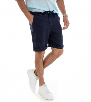 Bermuda Uomo Lino Shorts Pantaloncino Tinta Unita Blu Laccio Tasca America GIOSAL