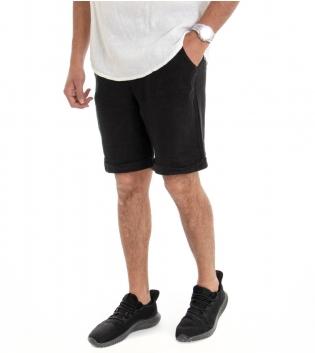 Bermuda Uomo Lino Shorts Pantaloncino Tinta Unita Nero Laccio Tasca America GIOSAL