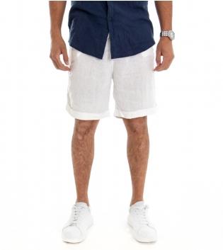 Bermuda Uomo Lino Shorts Pantaloncino Tinta Unita Bianco Laccio Tasca America GIOSAL